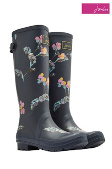 Joules Grey Print Welly With Adjustable Back Gusset