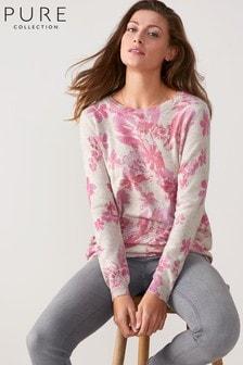 Pure Collection Grey Cashmere Boyfriend Sweater