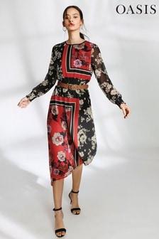 Oasis Multi Scarf Placement Chiffon Midi Dress