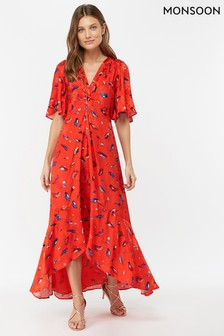 Monsoon Ladies Red Natalie Print Hi Lo Dress
