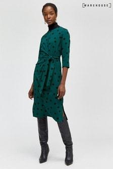 Warehouse Black Spot Tie Front Midi Dress