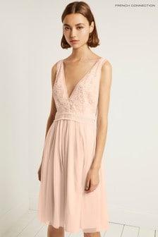 French Connection Pink Emelina Embellished V-Neck Dress
