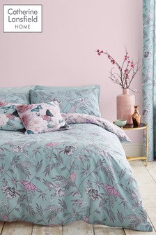 Catherine Lansfield Oriental Butterfly Duvet Cover and Pillowcase Set