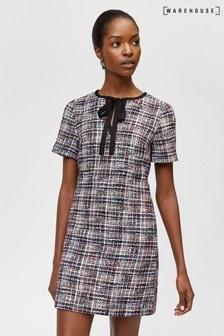 Warehouse Black Tweed Tie Neck Dress