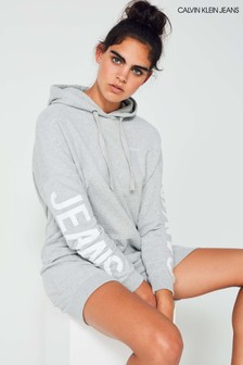 Calvin Klein Jeans Grey Institutional Back Hoody Dress