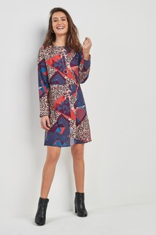 Print Long Sleeve T-Shirt Dress