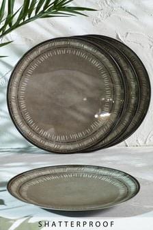 Set of 4 Patterned Melamine Dinner Plates