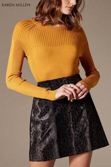 Karen Millen Yellow Skinny Rib Jumper