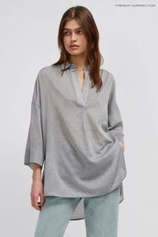 French Connection Grey Pf Jacinda Cotton Pop Over Shirt