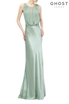 Ghost London Green Claudia Dusty Satin Dress