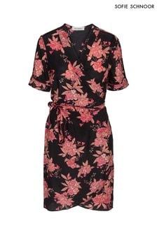 Sofie Schnoor Black Floral Silk Wrap Dress