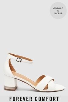 Forever Comfort® Cross Over Block Heel Sandals