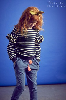 Outside The Lines Blue Double Frill Sweat
