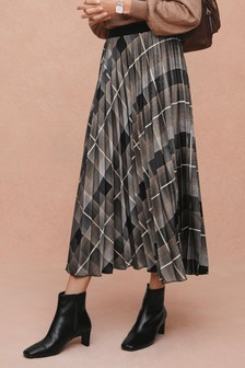 Check Pleat Skirt