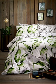 Tropical Leaf Print Duvet Cover and Pillowcase Set