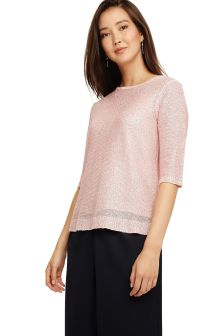 Phase Eight Pink Caley Sequin Knit Top