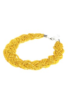 Bead Plaited Short Statement Necklace