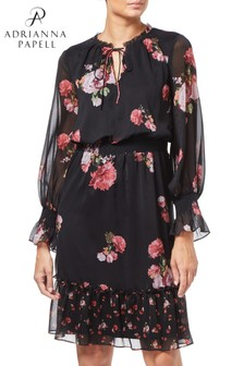 Adrianna Papell Black Loving Flora Boho Dress