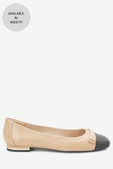 Leather Stud Bow Ballerinas
