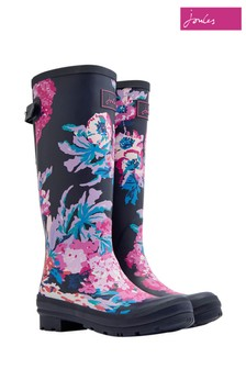 Joules Blue Print Welly With Adjustable Back Gusset