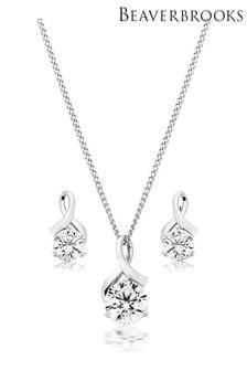 Beaverbrooks 9ct Cubic Zirconia Pendant & Earrings Set