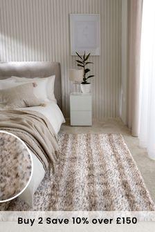 Natural Dotty Faux Fur Rug
