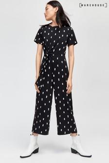 Warehouse Black Brushstroke Culotte Jumpsuit