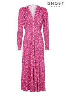 Ghost London Pink Birdie Printed Floral Button Through Dress
