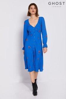 Ghost London Blue Allie Printed Floral Crepe Dress