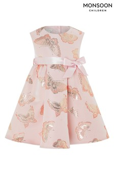 Monsoon Pink Baby Nora Butterfly Jacquard Dress
