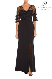 Adrianna Papell Black Beaded Sleeve Crepe Gown