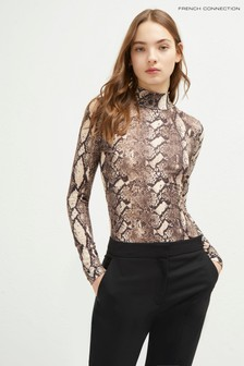 French Connection Cream Animal Skin Printed Halter Neck Top