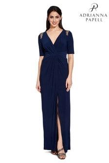 Adrianna Papell Blue Long Jersey Dress