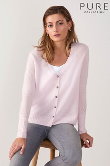 Pure Collection Pink Gassato Pointelle Cardigan
