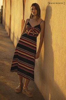 Warehouse Black Sunset Stripe Tie Front Dress