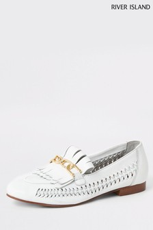 River Island White Woven Leather Shoe