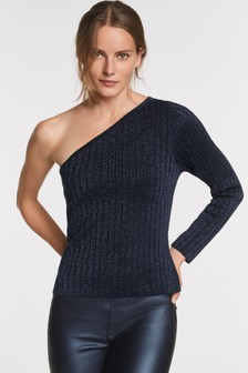 One Shoulder Metallic Shimmer Jumper
