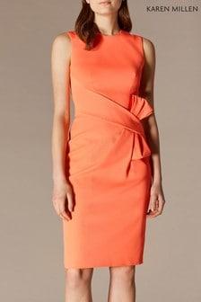 Karen Millen Orange Escaping Bow Dress