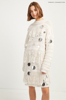 French Connection Cream Sequin Dress