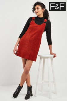 F&F Orange Cord Pinafore Dress