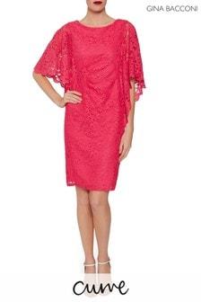 Gina Bacconi Pink Satina Lace Dress