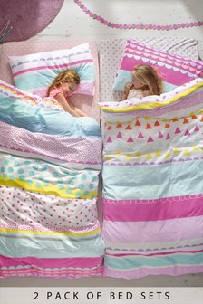 2 Pack Bright Geo Pop Duvet Cover and Pillowcase Set