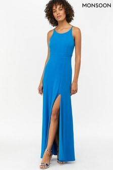 Monsoon Ladies Blue Ellie Jersey Racer Maxi Dress