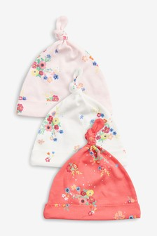 Multi Floral Tie Top Hats Three Pack (0-18mths)