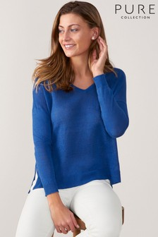 Pure Collection Linen V-Neck Sweater
