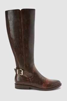 Snake Effect Knee High Rider Boots