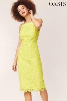 Oasis Yellow Lace Square Neck Midi Dress