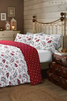Fusion Exclusive To Next  Brushed Cotton Flannel Skandi Robin Duvet Cover and Pillowcase Set