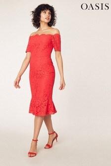 Oasis Red Lace Bardot Pencil Dress