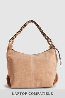 Leather Weave Strap Hobo Bag